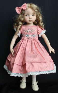 "Smocked Embroidered Silk Outfit for Dianna Effner's 13"" Little Darling Dolls 