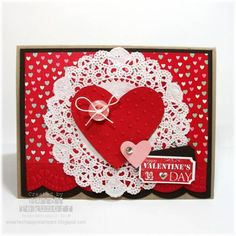 Two Happy Stampers: A Doily More Amore Valentine Valentines Day Cards Handmade, Valentine Day Crafts, Valentine Nails, Valentine Ideas, Love Cards, Halloween Cards, Anniversary Cards, Homemade Cards, Paper Crafts