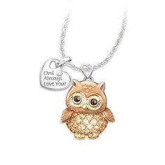 Granddaughter Owl Always Love You Swarovski Crystal Pendant