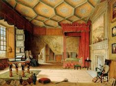 Mary, Queen of Scots' Bedchamber, Holyroodhouse - This painting depicts what was believed to be an accurate portrayal of Mary, Queen of Scots' Bedchamber when she was in residence at the palace from 1561 to 1568.