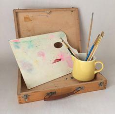 Vintage Artist's Box and Palette Art Studio Supplies and | Etsy Neighborhood Garage Sale, Palette Art, Navigation Bar, Finger Joint, Product Offering, Handicraft, Silver Color, Art Photography, Original Art