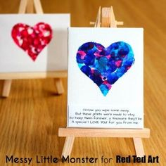 fingerprint keepsake heart mini canvas - a great project for even very young kids