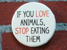 Vegetarian/Vegan Pinback Button If you love by EatYourVegTees, $2.00