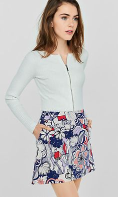 graphic floral high waisted a-line skirt