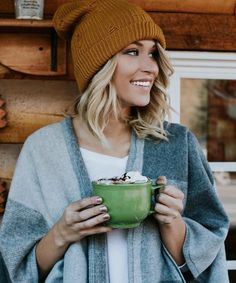 Winter Fashion /  Brown Beanie + Grey Poncho.  So cute! Casual comfy winter outfit.