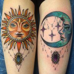 Moon and sun tattoos