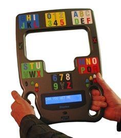 MegaBee Eye-Gaze Communication Device uses Electronic eyegaze E-Tran Communication with text output to aid frequent communication.