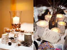 Love the table decorations for this winter/woodsy wedding theme using items the couple gathered up during the fall: acorns, pine cones, logs, twigs.