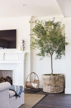 Chic living room features a flat panel tv over a white fireplace mantel accented with a mosaic marble surround next to a potted plant.