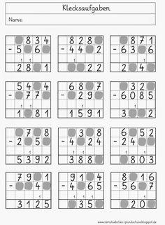 Lernstübchen: Klecksaufgaben 4th Grade Math Worksheets, Free Math Worksheets, 2nd Grade Math, Math For Kids, Fun Math, Math Activities, Addition And Subtraction Worksheets, Math Subtraction, Math Charts