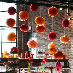 Girls Conference, candy bar/luffas attached to string dangling from ceiling