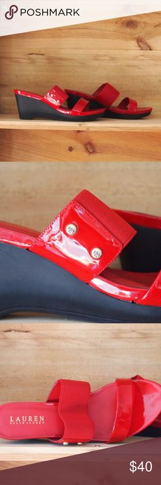 "Ralph Lauren ""Rihanna"" Wedge Ralph Lauren ""Rihanna"" in red patent leather, with black wedge, RL buttons to side. New in Box with no signs of wear. Ralph Lauren Shoes Wedges"
