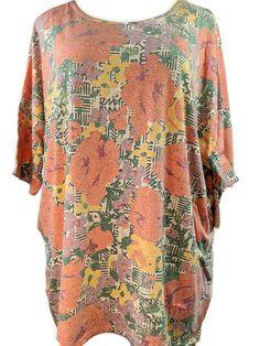 Tunic Size 22 BNWT Amy K Navy Blue /& Orange Printed Cold Shoulder Swing Dress