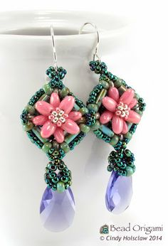 Water Lily Windows Earrings - Cindy Holsclaw - Bead Origami