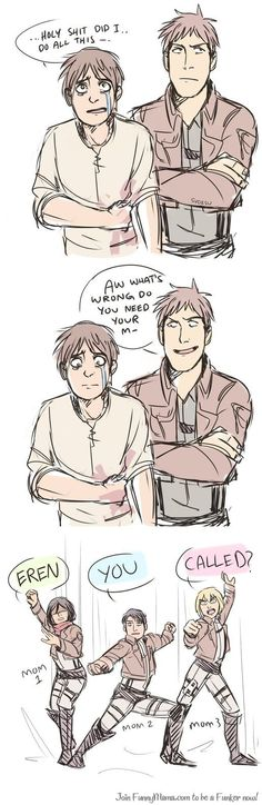 Jean, please dont talk to eren about his mom or youre about to become titan food..