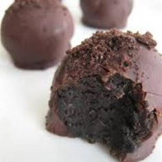 Oreo Truffles using 8 oz of Philly cream cheese, a package of Oreo cookies, and 8 semi-sweet chocolate squares. No bake recipe.