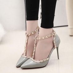 Pointed Toe T-strap 10 cm High Heel Sandals - Green
