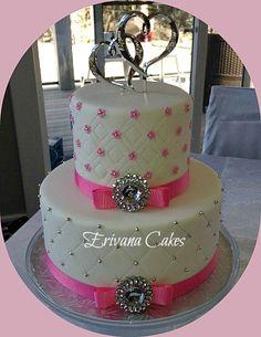 Pink and white wedding cake 6