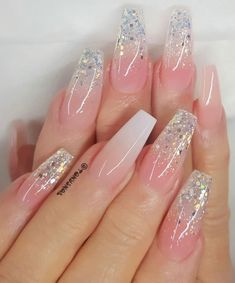"""57 Gorgeous Wedding Nail Designs for Brides, bridal nails nails bride,wedding nails with glitter, nails for wedding guest nails art The most stunning wedding nail art designs for a real """"wow"""" Cute Acrylic Nail Designs, Best Acrylic Nails, Nail Art Designs, Nail Designs With Glitter, Silver Acrylic Nails, Simple Wedding Nails, Wedding Nails Design, Wedding Designs, Wedding Toe Nails"""