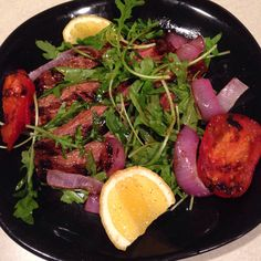 Lemon soy marinated flank steak with grilled veggies and arugula! 7 points