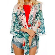 PRINTED KIMONO Floral Wrap Jacket Open Front Top Available Sizes: Small.  Brand New.   • Beautiful tropical Hawaiian print kimono jacket which can be worn as a light cardigan or beach style coverup.  • 3/4 length sleeves, optional front eyelet top tie, Semi-sheer, unlined.  • Perfect for dressing up or down!  • Polyester. • Made in the USA.  • Measurements provided in comment(s) section below.   {Southern Girl Fashion - Boutique Policy}   ✔️ Same-Business-Day Shipping (10am CT). ✔️ Price…