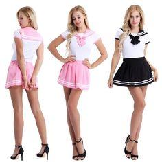 Japanese High School Girl Sailor Uniform Women Romper Cosplay Costume Skirt Set - Microskirt - Women in Uniform Japanese School Uniform, School Uniform Girls, Girls Uniforms, High School Girls, School Girl Dress, Girl Costumes, Costumes For Women, Cosplay Costumes, Pleated Mini Skirt
