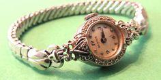 14K Diamond Wrist Watch by BENRUS 12 Pt Diamonds Vintage Steampunk Antique Watch Jewelry