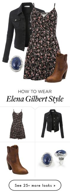 """""""HBIC - Elena Gilbert"""" by magikate on Polyvore featuring LE3NO, Dorothy Perkins, Frye and BillyTheTree"""