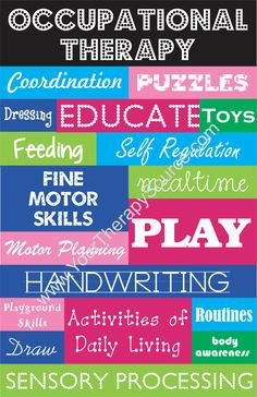 School Based Occupational Therapy Collage Poster
