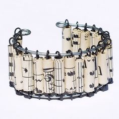 Paper Bead Jewelry Vintage Sheet Music Bracelet Cuff by Tanith, $40.00