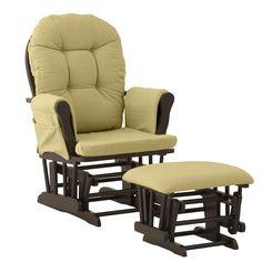 Stork Craft Hoop Custom Glider Chair and Ottoman Set, Black