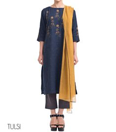 Linen Kurta Set 	Boat neck, 3/4 sleeve kurta  	Fine floral embroidery in contrast color 	Palazzo pants 	Dupatta with contrast edging     ...