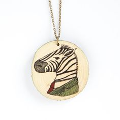 Zebra  illustrated wooden necklace by depeapa on Etsy, $25.00