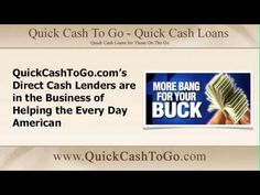 http://www.youtube.com/watch?v=BQHJeiUkW70 Looking for the best deal? Apply at www.quickcashtogo.com and one of our direct cash lenders will help you get the most bang for your buck #quickcash #cashloans #bangforyourbuck