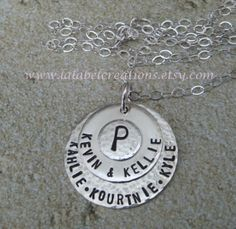 Sterling Silver Personalized necklace  Hand by Lalabel Creations