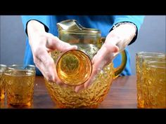 Vintage Amber Anchor Hocking Lido Milano Pitcher and Glass Set