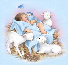 Baby and Lambs Baby Illustration, Winter Illustration, Illustrations, Christmas Scenes, Christmas Nativity, Christmas Art, Vintage Baby Pictures, Baby Images, Dibujos Baby Shower
