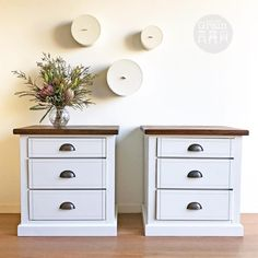 """153 Likes, 5 Comments - Rebecca • With the Grain • QLD (@withthegrainhome) on Instagram: """"Grand pair of Country Style bedsides in Raw Silk. The top has been stained Oak and has loads of…"""""""