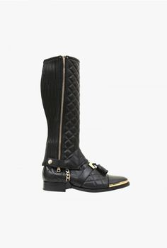 Quilted leather ankle boots with gaiters | Mens Shoes | Balmain