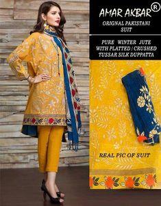 Amar Akbar Pakistani Pure Jute winter Suits 6 Winter Suit, Silk Dupatta, Pakistani Suits, Suits For Women, Jute, Indian Fashion, Kimono Top, Sari, Retail