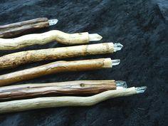 Magickal Ritual Sacred Tools:  Crystal- Tipped Wooden Wands.
