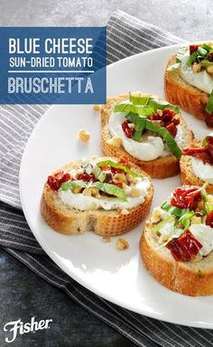Tangy sun-dried tomatoes, whipped blue cheese, FISHER Walnuts and basil are all you need to make a fresh and seasonal topping for bruschetta. All it takes is 15 minutes to whip up this quick & easy finger food for your next entertaining occasion!