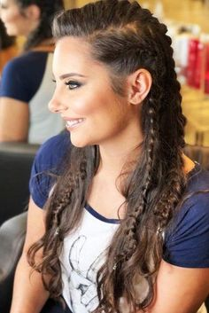 Side Braids Lagertha Style Half-Up # viking Braids lagertha Vikings Lagertha Hair Tutorial Braids For Long Hair, Long Curly Hair, Curly Hair Styles, Natural Hair Styles, Curly Hair Braids, Thin Hair, Short Hair, Sporty Hairstyles, Box Braids Hairstyles
