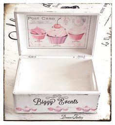 Dreams Factory Decoupage Glass, Decoupage Box, Decoupage Vintage, Cigar Box Art, Cigar Box Crafts, Shabby Chic Boxes, Shabby Chic Crafts, Tole Painting, Painting On Wood