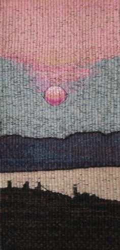 44b Sussex Sunset - woven tapestry by Stephanie Edwards, showing at Michael's Folly Artist, Epping Green, nr HERTFORD. Tel: 01992 410223