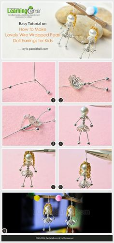 Easy Tutorial on How to Make Lovely Wire Wrapped Pearl Doll Earrings for Kids from LC.Pandahall.com