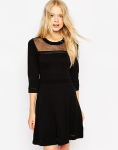 ASOS+Skater+Dress+In+Knit+With+Mesh+Panel