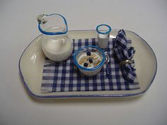Breakfast Tray - Blue [CER46 - Blue] : Dollhouse Miniatures By Barb, Wholesale Miniature Accessories