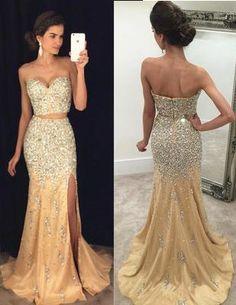 Sexy Split Side Prom Dress, 2017 Prom Dress, Champagne Prom Dress, Luxury Beading Prom Dress, Two-piece Prom Dresses, Mermaid Evening Dress,Long Prom Dresses,Sweetheart Prom Dress,Prom Dress