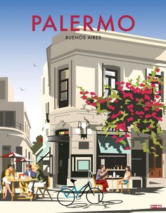 Posters inspired from the neighbourhoods and cultural hubs of buenos aires Retro Poster, Vintage Travel Posters, Vintage Postcards, Vintage Ads, Palermo, City Poster, Travel Illustration, Poster Prints, Hawaii Beach